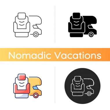 RV furniture icon. Seating for trailer. Recliner for van. Roadtrip gear. Nomadic lifestyle. Camping trip necessities for traveler. Linear black and RGB color styles. Isolated vector illustrations icon