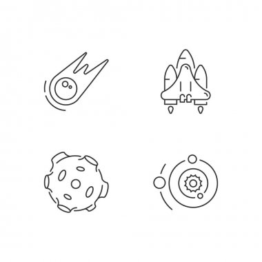 Astronautic linear icons set. Gravitationally system of sun and planets. Earth natural satellite. Customizable thin line contour symbols. Isolated vector outline illustrations. Editable stroke icon