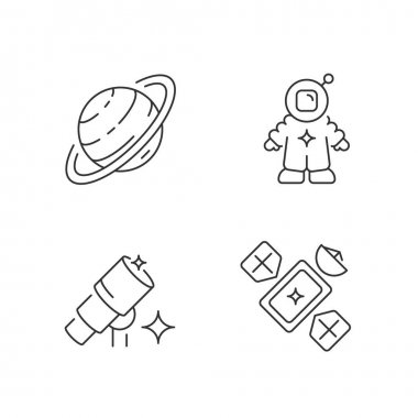 Astronautic linear icons set. Tool for making star maps and maps of planetary surfaces. Customizable thin line contour symbols. Isolated vector outline illustrations. Editable stroke icon