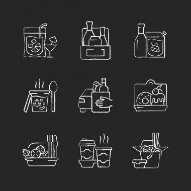 Pickup and delivery option chalk white icons set on black background. Slushy drinks. Wine, beer, spirits. Thick, creamy soups. Food curbside pickup. Isolated vector chalkboard illustrations icon
