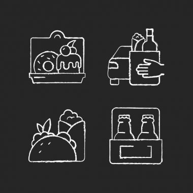 Pickup and delivery option chalk white icons set on black background. Cakes and desserts. Food curbside pickup. Burritos and tacos. Beer. Sweet baked food. Isolated vector chalkboard illustrations icon