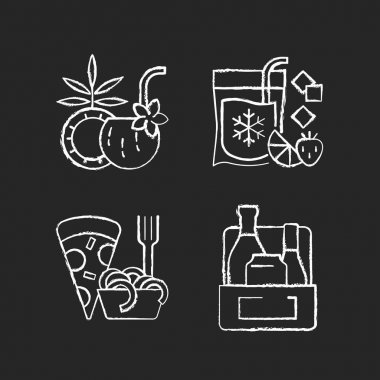 Pickup and delivery option chalk white icons set on black background. Coconut cocktail. Frozen beverage. Pizza and pasta. Alcoholic drinks. Pina colada. Isolated vector chalkboard illustrations icon