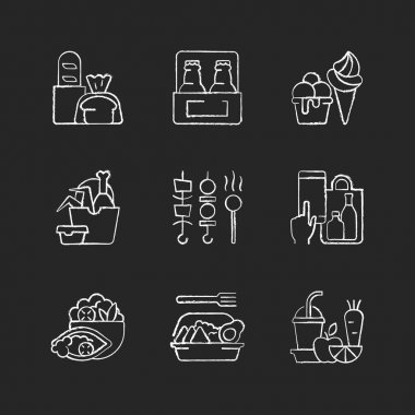 Pickup and delivery option chalk white icons set on black background. Bakery products. Beer. Ice cream. Chicken wings and legs bucket. Shish kebabs. Isolated vector chalkboard illustrations icon
