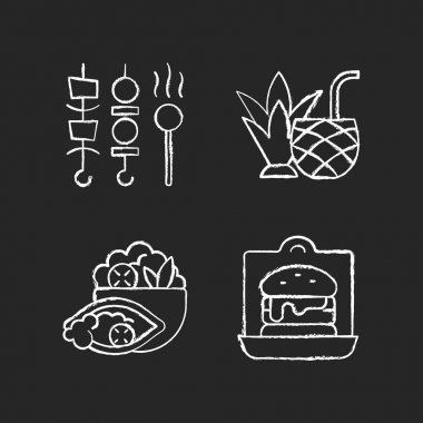Takeaway and delivery option chalk white icons set on black background. Shish kebabs and meat pops. Coconut cocktail. Burrito bowl. Sandwiches, burgers. Isolated vector chalkboard illustrations icon