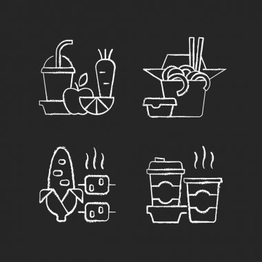 Takeaway and delivery option chalk white icons set on black background. Fresh juice. Chinese food. Boiled, grilled corn. Coffee. Fruit, vegetable smoothies. Isolated vector chalkboard illustrations icon