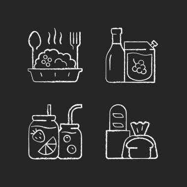 Takeaway and delivery option chalk white icons set on black background. Porridge bowl. Red and white wine. Fruit-infused water bottle. Fresh bread. Isolated vector chalkboard illustrations icon