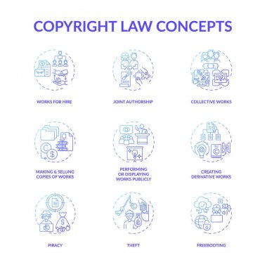 Copyright law concept icons set. Original works authorship protection idea thin line RGB color illustrations. Freebooting. Making and selling copies. Joint authorship. Vector isolated outline drawings icon