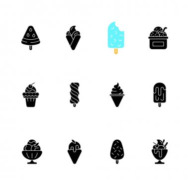 Ice cream varieties black glyph icons set on white space. Watermelon shape on stick. Soft serve. Creamy, sweet dessert. Sorbet, gelato. Frozen yogurt. Silhouette symbols. Vector isolated illustration icon