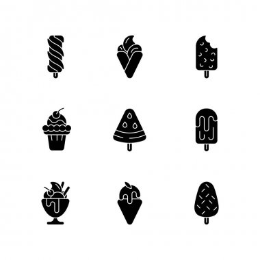 Ice cream variations black glyph icons set on white space. Swirled treat on stick. Hong kong waffles. Chocolate-covered dessert. Soft serve. Silhouette symbols. Vector isolated illustration icon