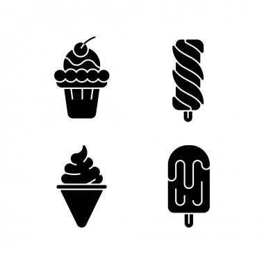 Ice cream varieties black glyph icons set on white space. Soft ice in waffle bowl. Popsicles. Cone-shaped frozen pastry. Sweet creamy dessert. Silhouette symbols. Vector isolated illustration icon