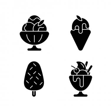 Ice cream varieties black glyph icons set on white space. Sorbet, sherbet. Gelato. Vanilla ice cream with sprinkles. Frozen yogurt, parfait. Silhouette symbols. Vector isolated illustration icon