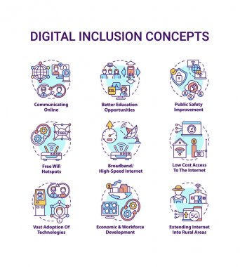 Digital inclusion concept icons set. Extend internet to rural areas. Adoption of technologies. Digitalization idea thin line RGB color illustrations. Vector isolated outline drawings. Editable stroke icon