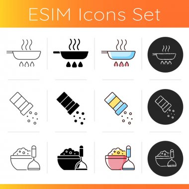 Cooking instruction icons set. Frying pan on stove. Sprinkle salt. Mashed potatoes in bowl. Culinary and cookery guide steps. Linear, black and RGB color styles. Isolated vector illustrations