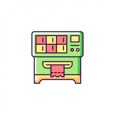 Lottery ticket vending machine RGB color icon. Dispensing lottery scratch-off tickets. Self-service mode. Random outcome. Draw winning numbers. Isolated vector illustration. Simple filled line drawing
