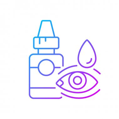 Eye drops gradient linear vector icon. Relieving dryness and redness. Allergy symptom. Treat viral infection. Thin line color symbols. Modern style pictogram. Vector isolated outline drawing
