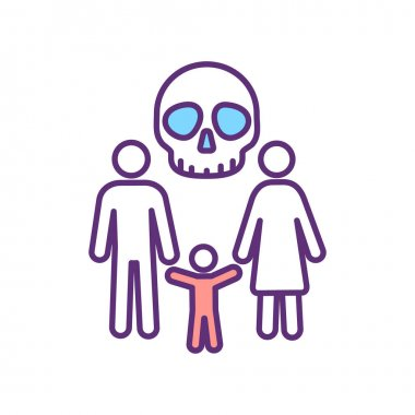 Family threat RGB color icon. Treaten victims of slavery. Psychological pressure. Blackmail and money extortion. Risk for victims. Isolated vector illustration. Simple filled line drawing
