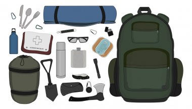 Camping set illustration