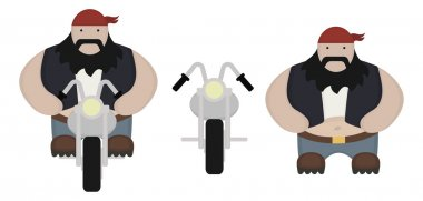 Funny fat, round biker with chopper motorcycle