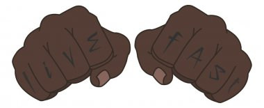 Fists with live fast fingers tattoo. Man hands outlines vector illustration
