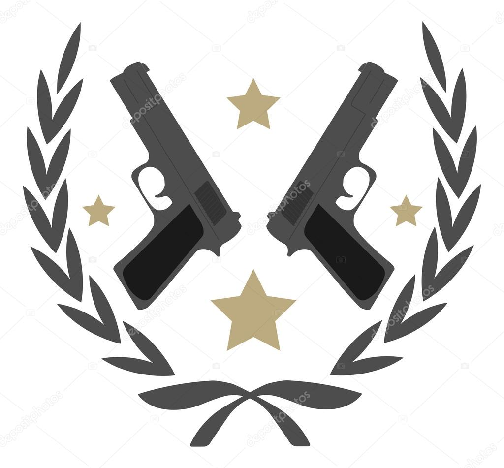 Contour, line art logo isolated on white with 2 pistols and stars in laurel wreath stock vector