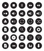 Multimedia black linear icons set