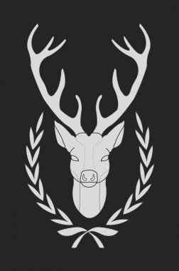 Deer in laurel wreath