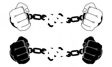 Man hands breaking steel handcuffs