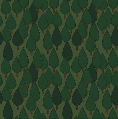 Summer trees seamless pattern