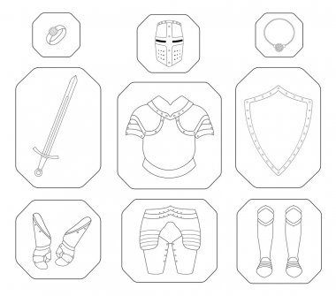 Game inventory. Knight linear armor set. Helmet, ring, necklace, sword, breastplate, shield, gloves, leggings, boots. Vector contour lines illustration stock vector