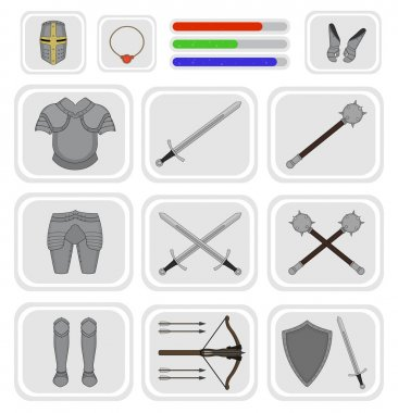 Game inventory. Knight warrior armor set. Helmet, necklace, health, mana, power bars, sword, breastplate, gloves, leggings, boots, mace, crossbow, shield. Vector illustration stock vector