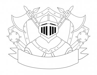 Medieval knight logo. Helmet, armor, mace, axes, shields, sign. Vector contour lines clip art illustration isolated on white stock vector