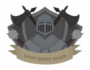 Medieval knight logo. Helmet, armor, mace, ax, shield, sign. Vector color clip art illustration isolated on white stock vector
