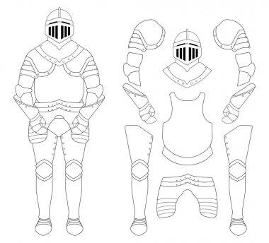 Medieval knight armor set. Helmet, shoulders, gloves, breastplate, leggings. Contour lines clip art vector illustration isolated on white stock vector