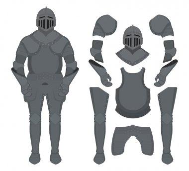 Medieval knight armor set. Helmet, shoulders, gloves, breastplate, leggings. Color clip art vector illustration isolated on white stock vector
