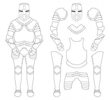 Medieval templar knight armor set. Helmet, shoulders, gloves, breastplate, leggings. Contour clip art vector illustration isolated on white stock vector