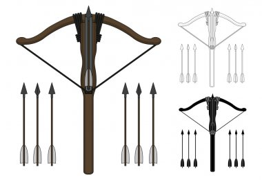 Medieval wooden crossbow with arrows