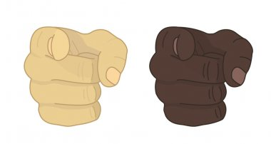 Fists with pointing finger. Vector clip art illustration isolated on white stock vector