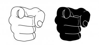 Fist with pointing finger. Contour lines, black silhouette. Vector clip art illustration isolated on white stock vector