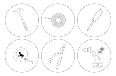 Repair tools line art icons set. Vector linear illustrations isolated on white clip art vector