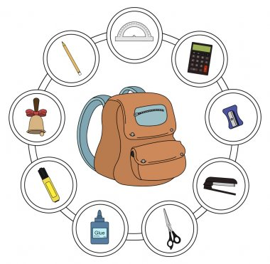 School set with round icons
