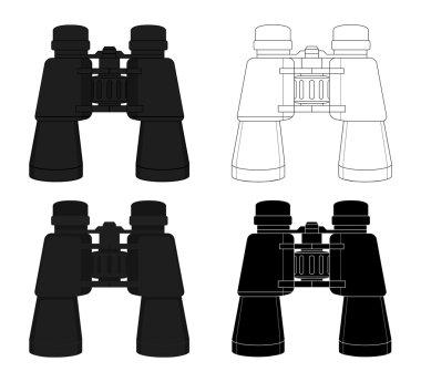 travel binoculars icon set.