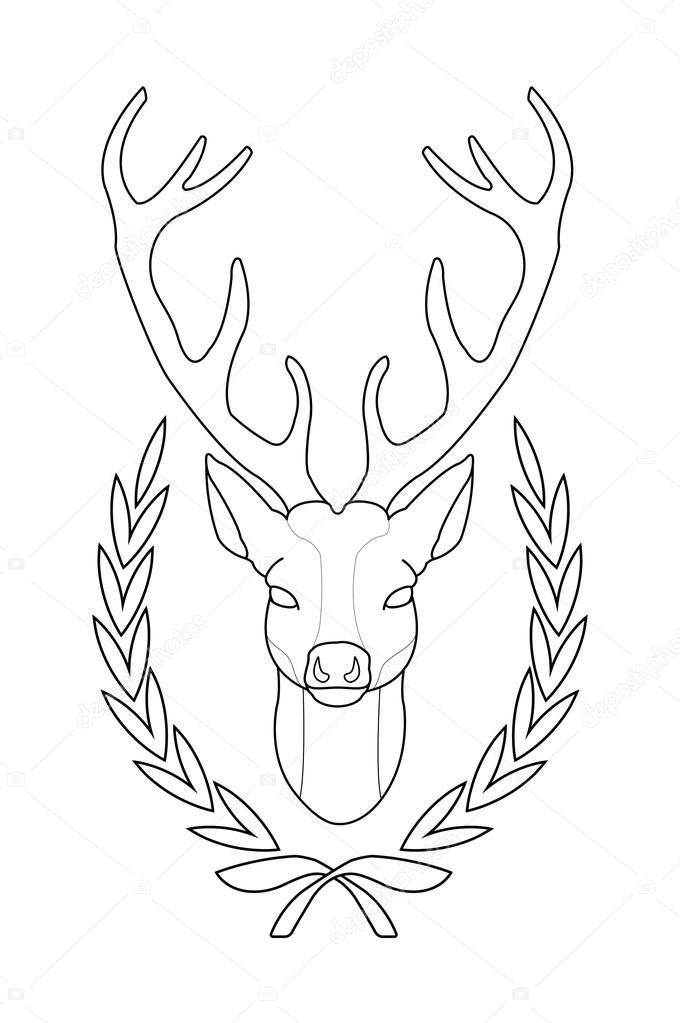tête de cerf  contour — image vectorielle bsd © 75624259