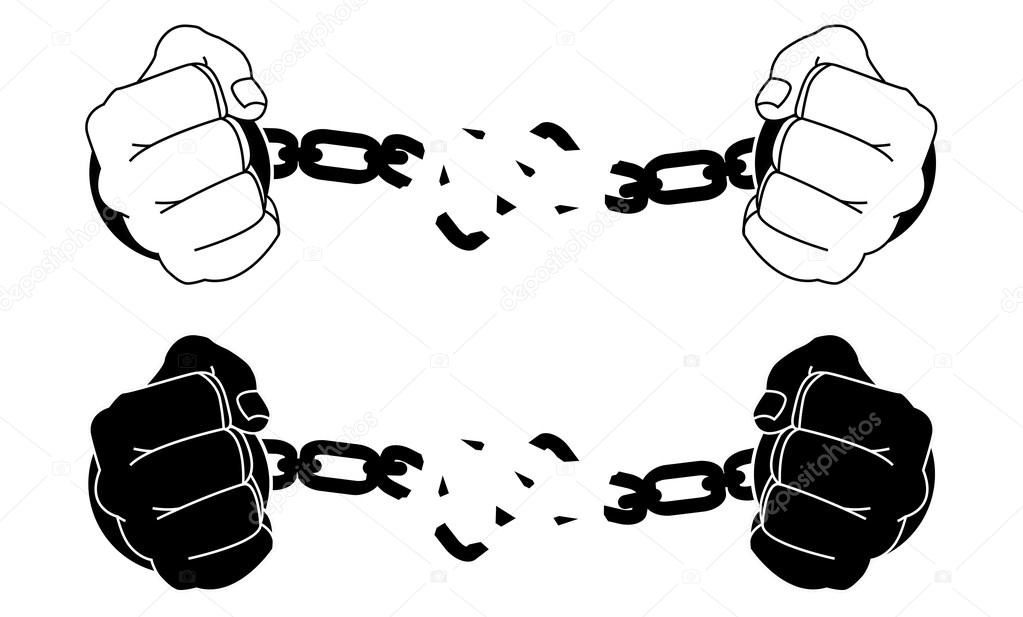 Male Hands Breaking Steel Handcuffs Black And White Vector Illustration Isolated On By Bsd