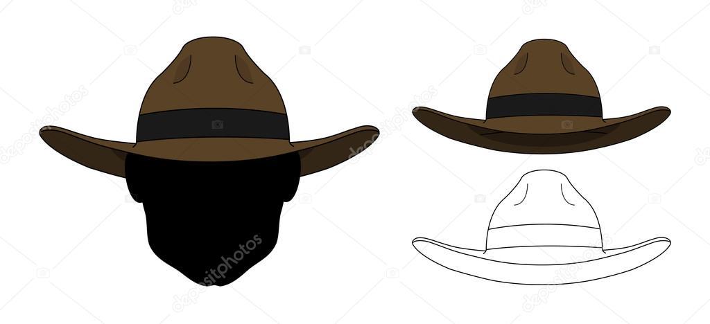 31854095e6ddb Sombrero de moda viejo oeste salvaje. Clip art color y líneas de contorno  ilustraciones de vectores aisladas en blanco - dibujos  sombreros del viejo  oeste ...