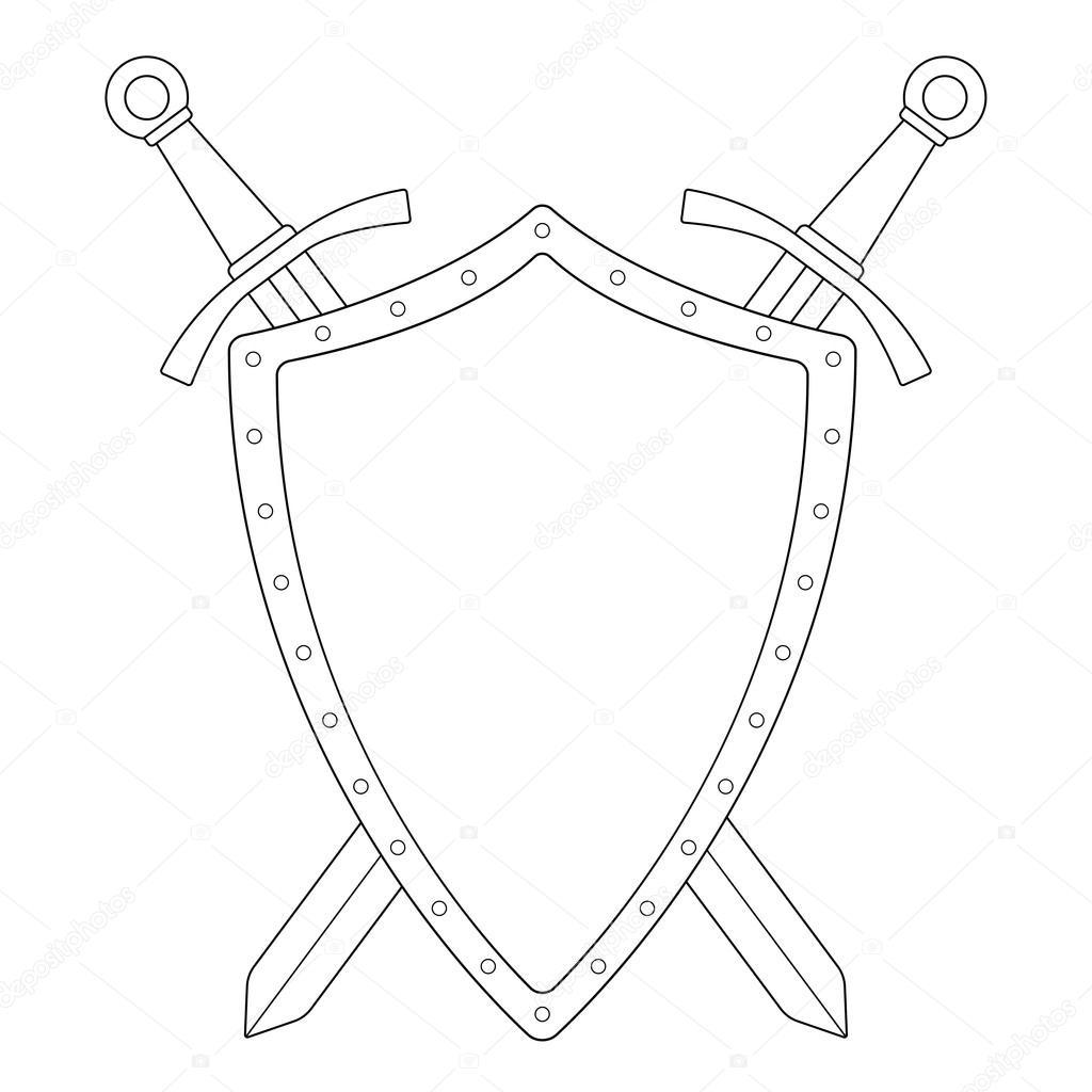 щит и меч картинка черно белая данное