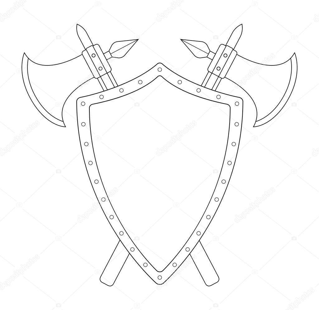 щит и меч картинка черно белая джейн был надет