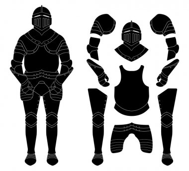 Medieval knight armor set. Helmet, shoulders, gloves, breastplate, leggings. Black vector illustration stock vector