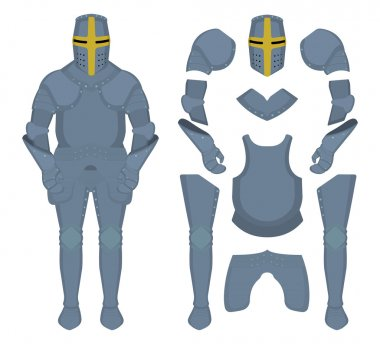 Medieval knight armor parts. Game resources. Vector clip art illustrations isolated on white stock vector