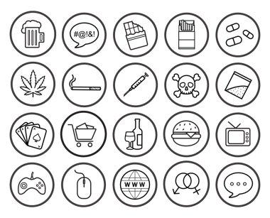 bad habbits linear icons names