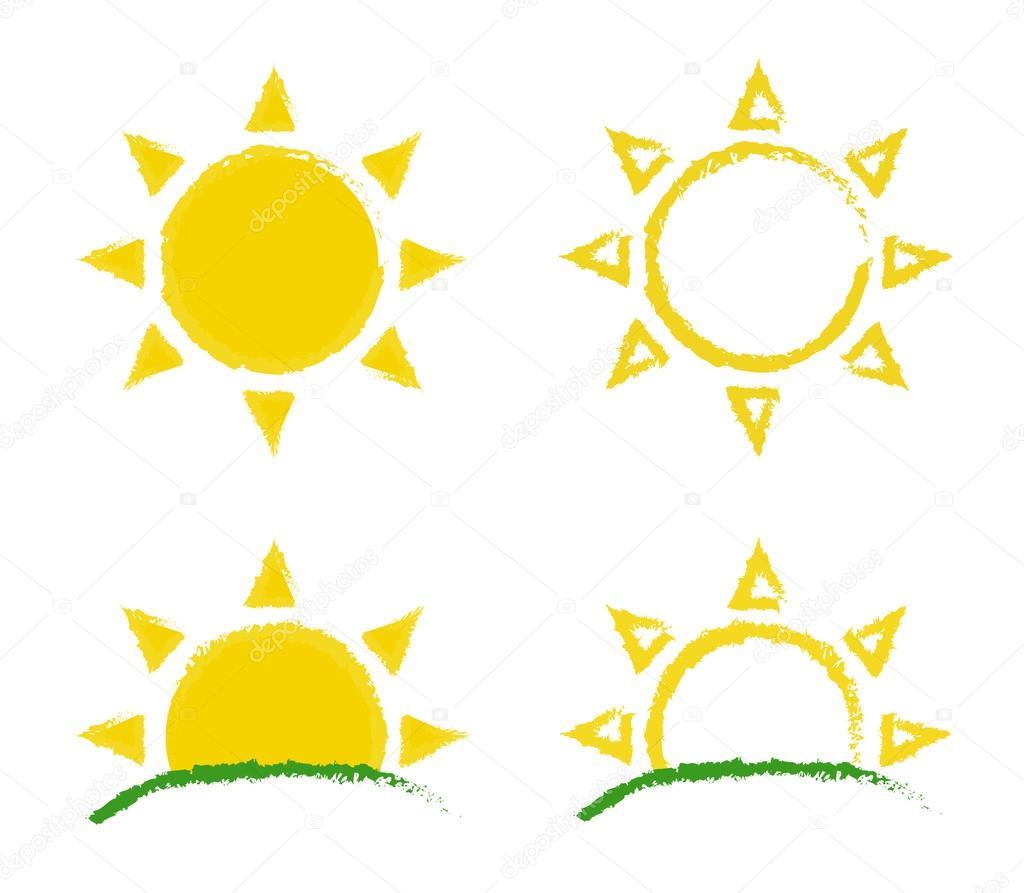 Sun and sunrise grunge logos set